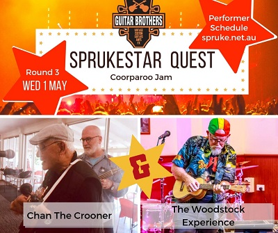 Chan The Crooner and The Woodstock Experience are performing in round 3 of the Guitar Brothers Sprukestar Quest at BUMS Coorparoo Jam in May.