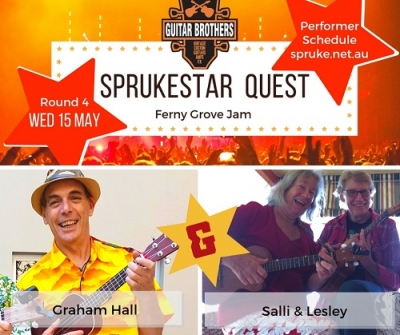 Graham Hall and Salli & Lesley perform in round four of the Guitar Brothers Sprukestar Quest