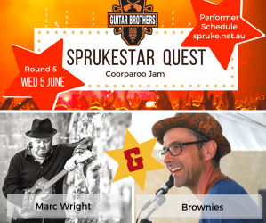 Michael Willimot and Marc Wright perform for round FIVE of the Guitar Brothers Sprukestar Quest at BUMS Coorparoo Jam 5 June 2019